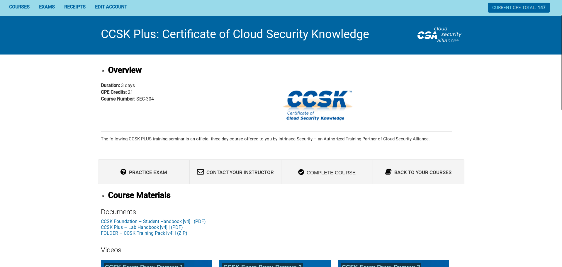 CCSK Plus: Access Class Material In Your Provided Account