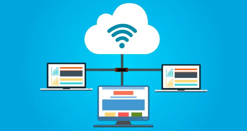 cloud computing illustration blue bg