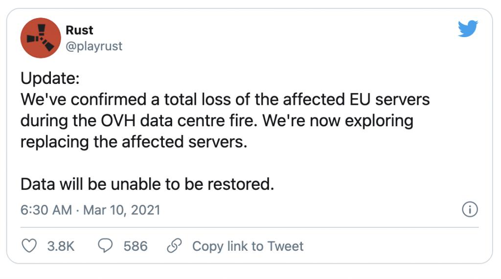 Rust OVH fire update tweet