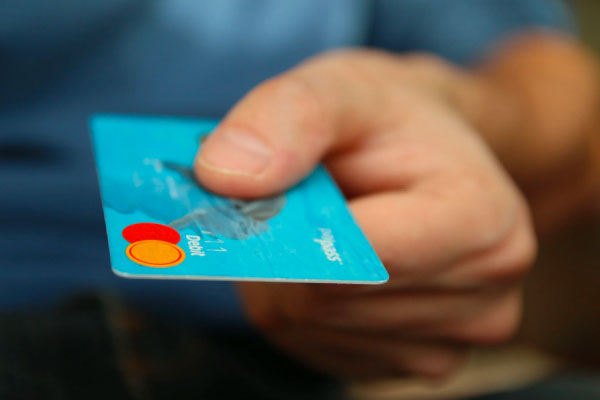 closeup of a credit card in hand